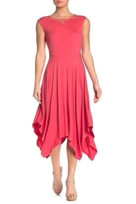 Spense Embroidered Sleeveless Handkerchief Midi Dress