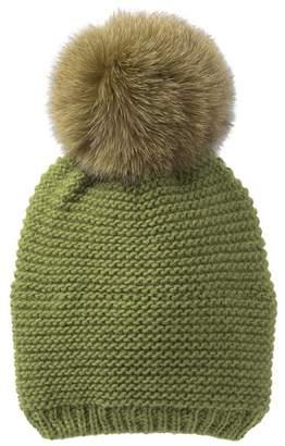 Kyi Kyi Genuine Fox Fur Pompom Knit Beanie