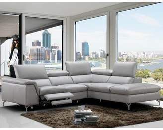 Wade Logan Dupont Leather Reclining Sectional Orientation: Right Hand Facing