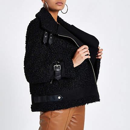 Womens Black borg aviator jacket