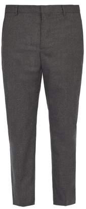 Joseph Jack Wool Blend Flannel Trousers - Mens - Dark Grey