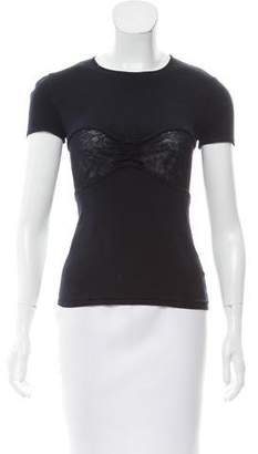 Valentino Lace-Accented Short Sleeve Top