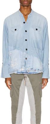 Greg Lauren 50/50 Chambray Denim Boxy Studio Shirt in Blue | FWRD