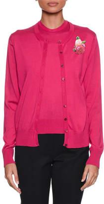 Dolce & Gabbana Long-Sleeve Button-Front Silk-Knit Cardigan
