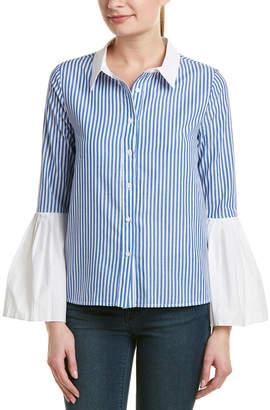 ENGLISH FACTORY Pleated Bell-Sleeve Top