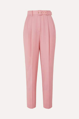 Emilia Wickstead The Woolmark Company Gus Belted Pleated Merino Wool Straight-leg Pants - Pink
