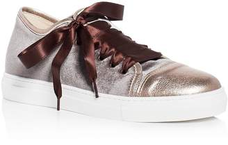 Nell Aska Velvet Cap Toe Lace Up Sneakers