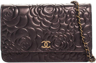 Chanel Bronze Metallic Embossed Leather Camellia Wallet On Chain