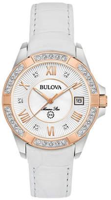 Bulova Analog Rose-Goldtone Leather Strap Watch with 0.025 TCW Diamonds