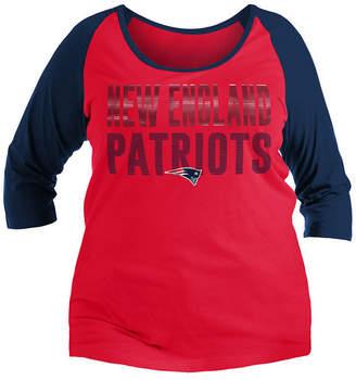 5th & Ocean Women New England Patriots Plus Size Colorblock Raglan T-Shirt