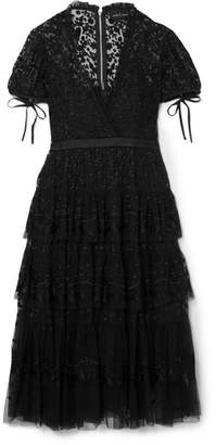 Needle & Thread Tiered Embroidered Tulle Midi Dress - Black