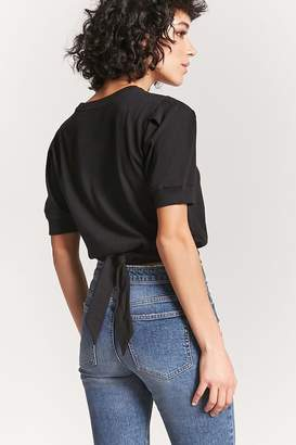 Forever 21 Puff Sleeve Tie-Back Top