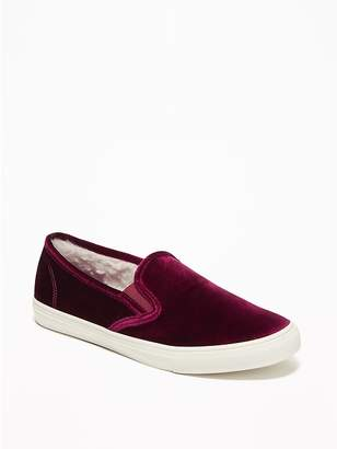 Old Navy Velvet Sherpa-Lined Slip-Ons for Women