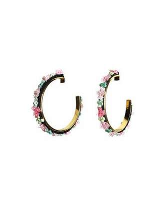 Mignonne Gavigan Skinny Julia Embroidered Hoop Earrings