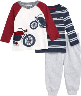 Little Me Motorcycle T-Shirt, Stripe T-Shirt & Jogger Pants Set