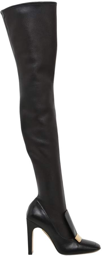 105mm Metal Plaque Stretch Leather Boots