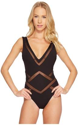 Kenneth Cole All Meshed Up Plunge Mio One-Piece Women's Swimsuits One Piece