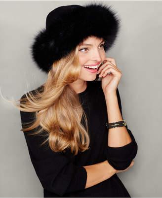The Fur Vault Fox-Fur-Trim Cashmere Hat
