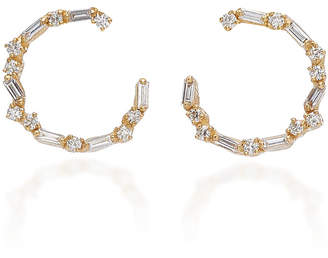 Suzanne Kalan 18K Gold Diamond Hoop Earrings
