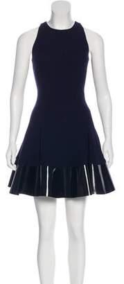 Cushnie et Ochs Leather-Accented Wool Dress
