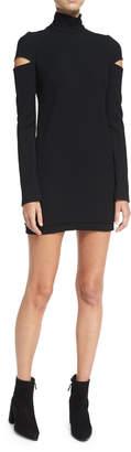 Helmut Lang Turtleneck Slit Long-Sleeve Mini Sweater Dress