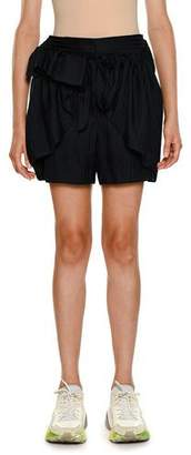 Stella McCartney Striped-Shirting Ruffled Apron-Front Silk Shorts