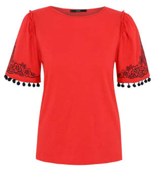 George Red Embroidered Pom-Pom Trim Top