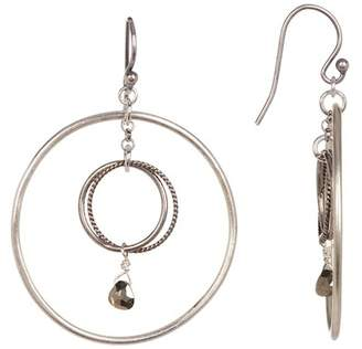 Chan Luu Double Hoop Crystal Dangle Earrings