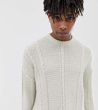 Reclaimed Vintage inspired cable knit sweater in cream