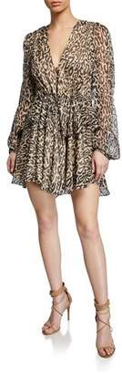 Shona Joy Mariposa Leopard-Print Long-Sleeve Drawstring Peplum Mini Dress