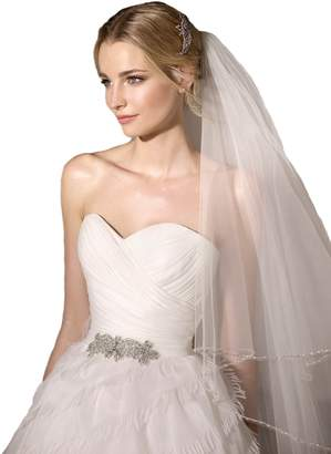 Passat Passat 2T 2 Tiers 2M/3M/5M/10M Silver Lined Beaded Edge Cathedral Wedding Veils With Crystal Bridal Veil 230 Size 2T(1st tier 60CM, 2nd tier 3M) Color