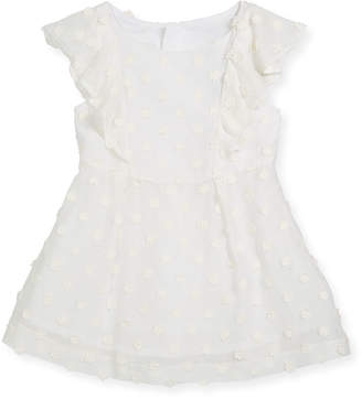 Milly Minis Daisy-Embroidery Ruffle Dress, Size 8-16