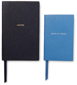 Smythson Panama Bright Ideas Cross-Grain Leather Notebook Set