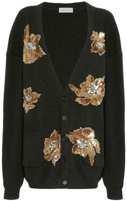 Faith Connexion oversized flower embellished wool cardigan