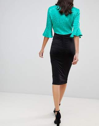 Asos Design DESIGN slinky pencil skirt with ruched back detail