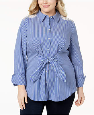 INC International Concepts I.n.c. Plus Size Lace Tie-Front Shirt, Created for Macy's
