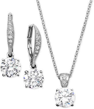 Danori Cubic Zirconia Solitaire Pendant Necklace and Matching Drop Earrings Set