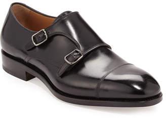 Salvatore Ferragamo Men's Tramezza Calfskin Double-Monk Shoe, Black