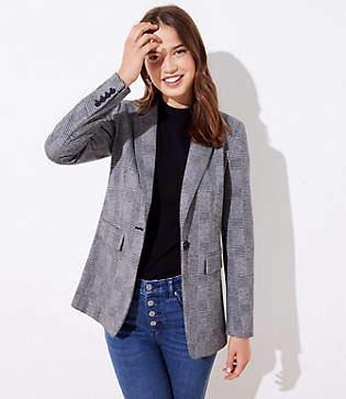 LOFT Petite Plaid Long Knit Modern Blazer