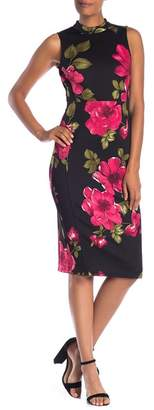Nine West Mock Neck Sheath Floral Print Dress