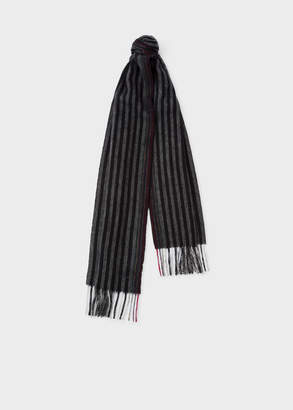 Paul Smith Men's Grey Two-Tone Stripe Lambswool And Cashmere Scarf