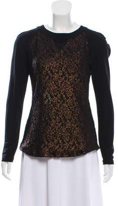 Prabal Gurung Lace-Paneled Long Sleeve Top