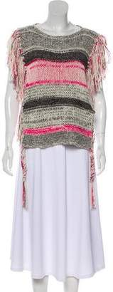 Etoile Isabel Marant Striped Fringe-Trimmed Poncho w/ Tags