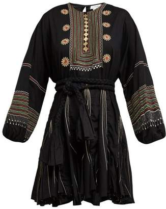 Rhode Resort - Ella Tribal Embroidered Chiffon Crepe Dress - Womens - Black Multi