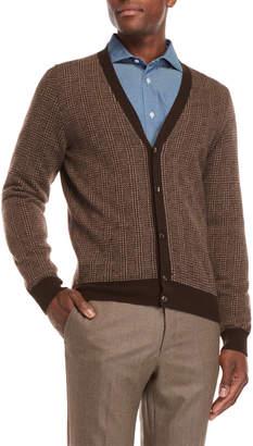 Luciano Barbera Wool Glen Plaid Cardigan