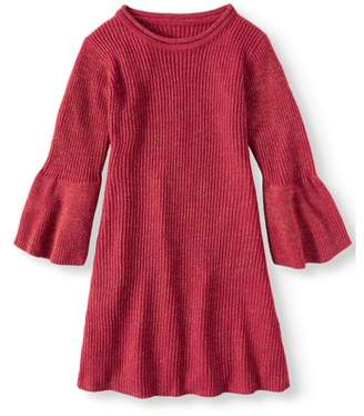 Derek Heart Bell Sleeve Metallic Sweater Knit Dress (Big Girls)