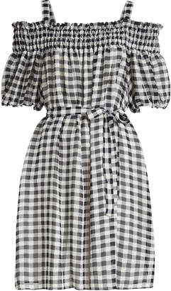 Moschino Gingham Off-Shoulder Dress