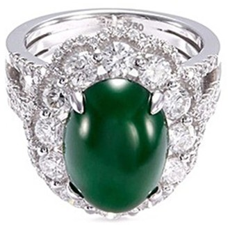 LC Collection Jade Diamond jade 18k gold scalloped ring