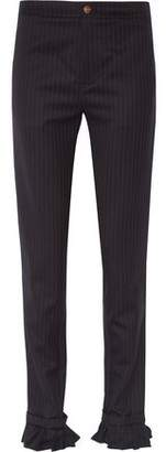with me. Maggie Marilyn Don't Frill Ruffle-Trimmed Pinstriped Wool Skinny Pants