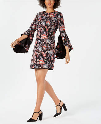 Laundry by Shelli Segal Reversible Floral Angel-Sleeve Sheath Dress